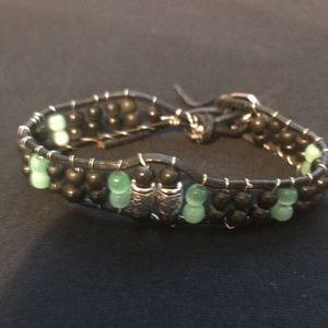 Jewelry - Leather and Gemstone Bracelet